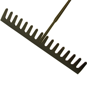 Asphalt Rake 16 Flat Teeth - Tubular Steel Shaft Handled