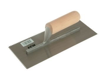 Notched Trowel 5mm V Notches Wooden Handle 11 x 4.1/2in