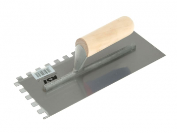 Notched Trowel 10mm Square Not ches Wooden Handle 11 x 4.1/2i