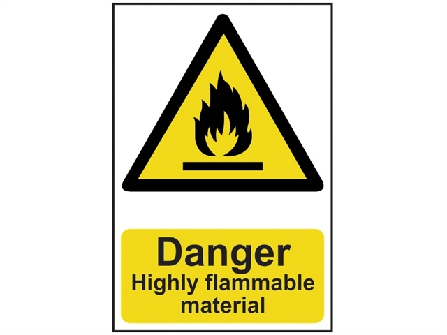 Danger Highly Flammable Material - PVC 200 x 300mm