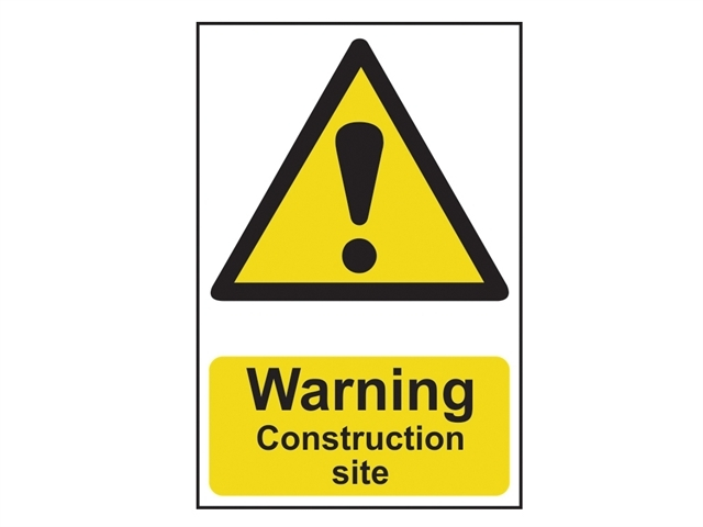 Warning Construction Site - PVC 200 x 300mm