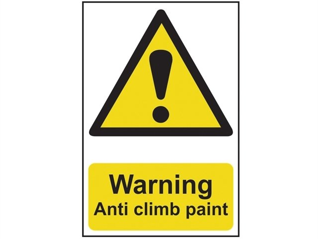 Warning Anti Climb Paint - PVC 200 x 300mm