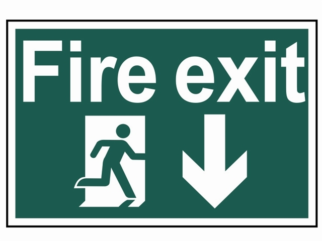 Fire Exit Running Man Arrow Down - PVC 300 x 200mm