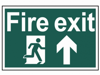 Fire Exit Running Man Arrow Up - PVC 300 x 200mm
