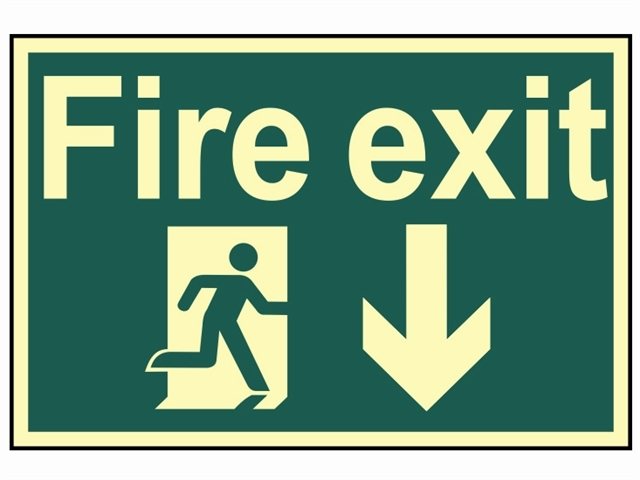 Fire Exit Running Man Arrow Do wn - Photoluminescent 300 x 20
