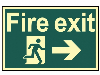 Fire Exit Running Man Arrow Ri ght - Photoluminescent 300 x 2
