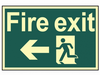 Fire Exit Running Man Arrow Le ft - Photoluminescent 300 x 20
