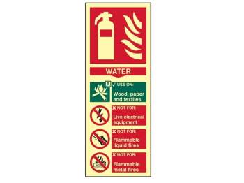 Fire Extinguisher Composite Wa ter - Photoluminescent 75 x 20
