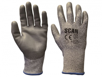 Grey PU Coated Cut 5 Gloves - L (Size 9)