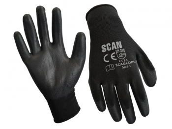 Black PU Coated Gloves - Large (Size 9) (Pack 240)