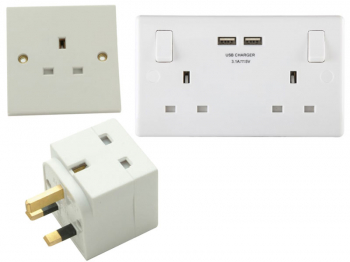 Switched Socket 2-Gang 13A with 2 x USB White