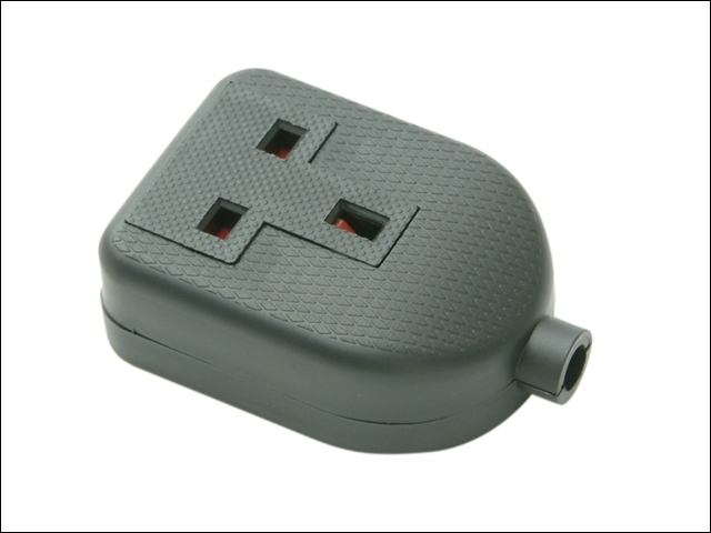 Black Single Extension Socket 13A