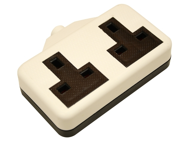 White Extension Socket 13A 2 Gang