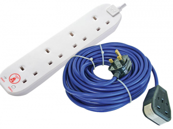 USB Extension Lead 240 Volt 5 Way 13A Surge Protection 2 Met