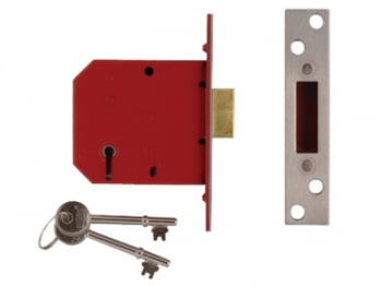2101 5 Lever Mortice Deadlock Satin Brass Finish 65mm 2.5in