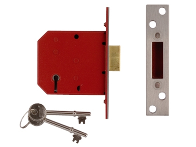 2101 5 Lever Mortice Deadlock Satin Brass Finish 77.5mm 3in
