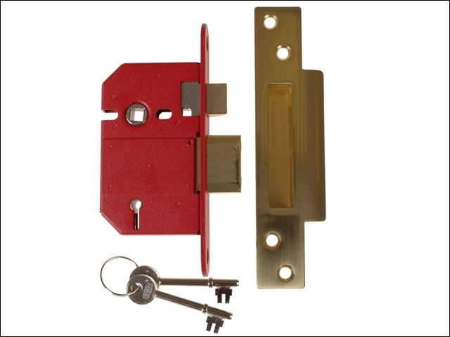 StrongBOLT 2200S BS 5 Lever Mo rtice Sashlock Satin Brass 68m