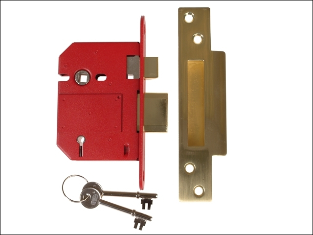 StrongBOLT 2200S BS 5 Lever Mo rtice Sashlock Satin Brass 81m