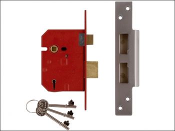 2234E 5 Lever BS Mortice Sashl ock Plated Brass Finish 79.5mm
