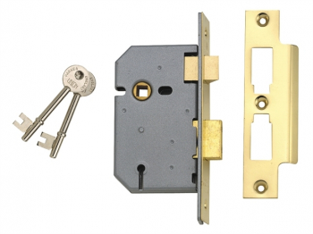 2277 3 Lever Mortice Sashlock Polished Brass 65mm 2.5in Box
