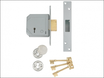 3G114E 5 Lever Mortice Deadloc k C-Series 80mm 3in Satin Chro