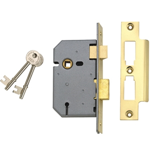 2077-5 3 Lever Horizontal Mort ice Lock Polished Brass 124mm