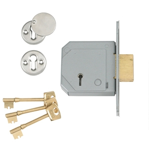 StrongBOLT 2105S Polished Bras s 5 Lever Mortice Deadlock Vis