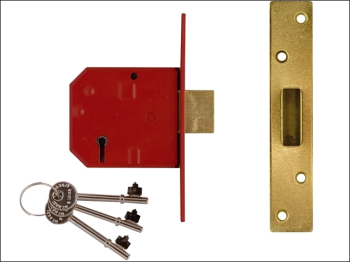 2134E 5 Lever BS Mortice Deadl ock Satin Brass Finish 67mm 2.