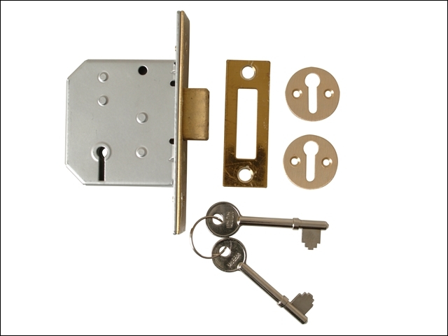 2177 3 Lever Mortice Deadlock Polished Brass 65mm 2.5in Visi