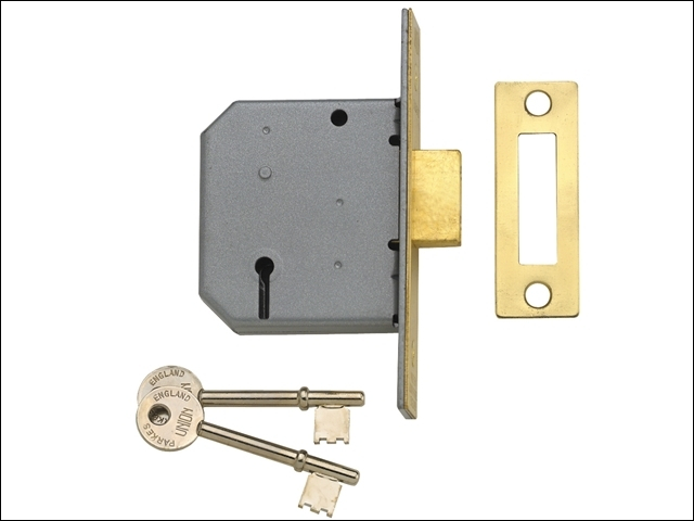 2177 3 Lever Mortice Deadlock Polished Brass 77.5mm 3in Visi