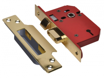 StrongBOLT 2203S 3 Lever Morti ce Sashlock Polished Brass 81m