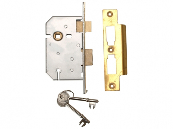 2277 3 Lever Mortice Sashlock Polished Brass 65mm 2.5in Visi