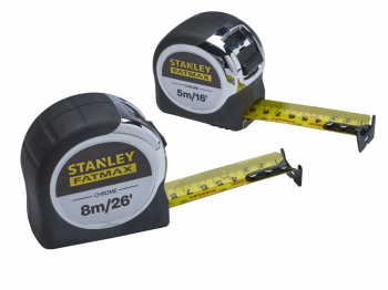 XMS19CTTWIN Stanley FatMax Chrome Tape (Twin Pack)