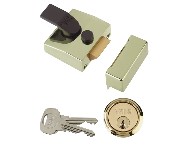 85 Deadlocking Nightlatch 40mm Backset Brasslux Finish Box
