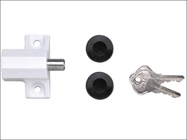 P114 Patio Door Lock White Finish Visi-pack