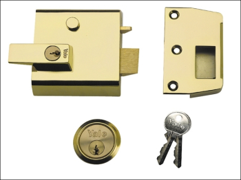 P1 Double Security Nightlatch 60mm Backset Brasslux Finish V