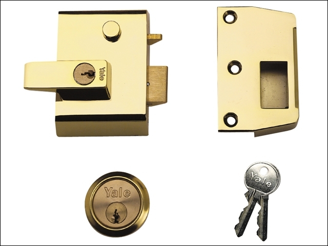 P2 Double Security Nightlatch 40mm Backset Brasslux Finish V