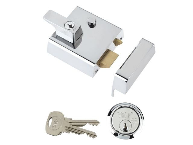 P2 Double Security Nightlatch 40mm Backset Chrome Finish Vis