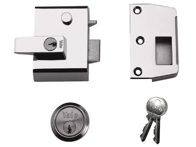 P2 Double Security Nightlatch 40mm Backset DMG/PB Finish Vis