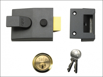 P89 Deadlock Nightlatch 60mm Backset Brasslux Finish Visi