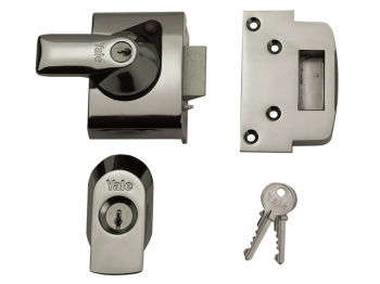 BS2 Nightlatch British Standar d Lock 40mm Backset Chrome Fin