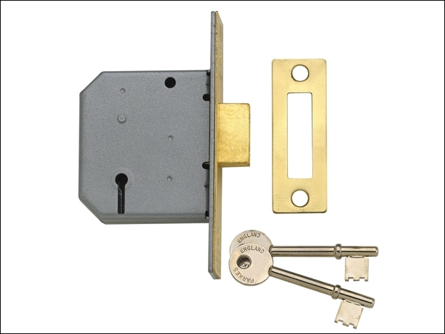 PM322 3 Lever Mortice Deadlock Polished Brass 65mm 2.5in