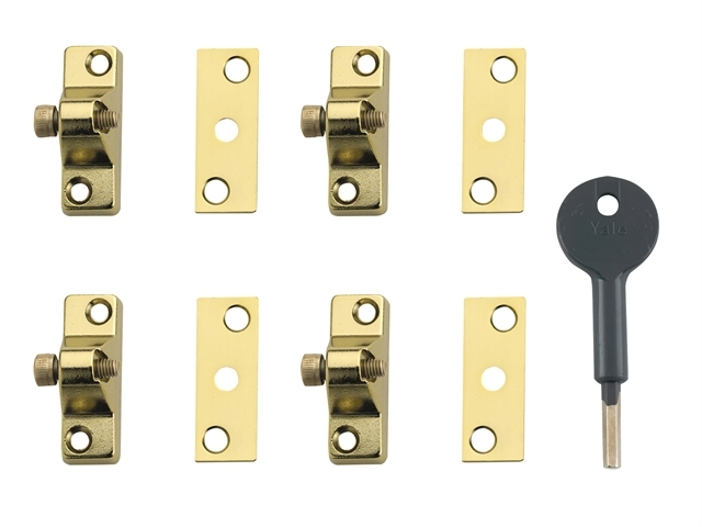 8K118 Economy Window Lock Elec tro Brass Finish Pack of 4 Vis